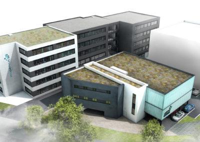 """Erweiterung Privatschule """"ProGenius"""" und Neubau 1-Feld-Sporthalle in Darmstadt"""